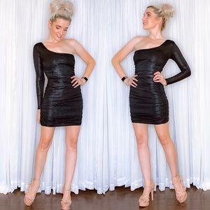 One Sleeve Glam Date Night Dress